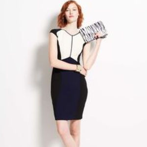 Ann Taylor 8 Navy Blue White Colorblock Dress